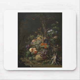 Abraham Mignon Still Life with Fruit, Fish, and a Mouse Pad