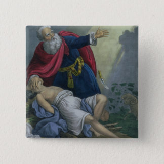 Abraham Offering Up his Son Isaac, from a Bible pr Button