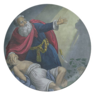 Abraham Offering Up his Son Isaac, from a Bible pr Dinner Plate