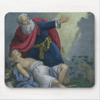 Abraham Offering Up his Son Isaac, from a Bible pr Mouse Pad