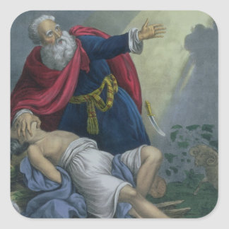Abraham Offering Up his Son Isaac, from a Bible pr Square Sticker