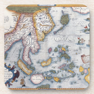 Abraham Ortelius map of South East Asia Coasters