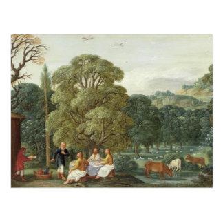 Abraham que entretiene los tres ángeles tarjetas postales