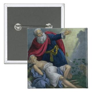 Abraham que ofrece encima de su hijo Isaac, de una Pin Cuadrada 5 Cm