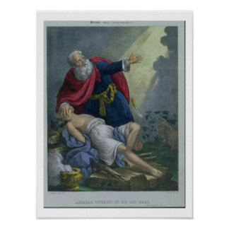 Abraham que ofrece encima de su hijo Isaac, de una Póster