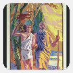 Abraham que va a ofrecer a Isaac su hijo Calcomanías Cuadradas