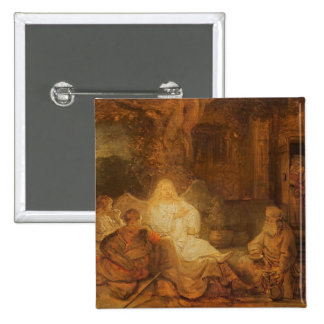 Abraham Receives the Three Angels, 1646 (oil on pa Pinback Button