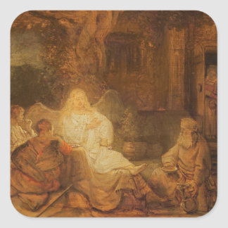 Abraham Receives the Three Angels, 1646 (oil on pa Square Sticker
