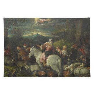 Abraham sale de Haran de Francisco Bassano Mantel Individual