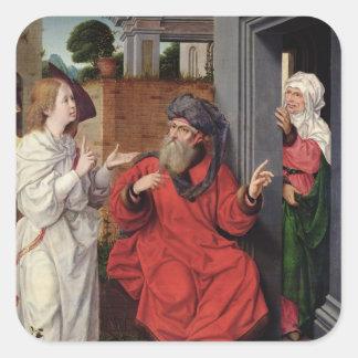 Abraham, Sara and an Angel, c.1520 Square Sticker