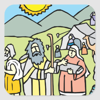 Abraham y Sarah Pegatina Cuadrada