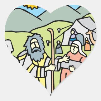 Abraham y Sarah Pegatina En Forma De Corazón