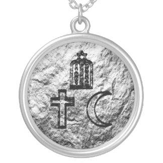 Abrahamic Faiths Round Pendant Necklace