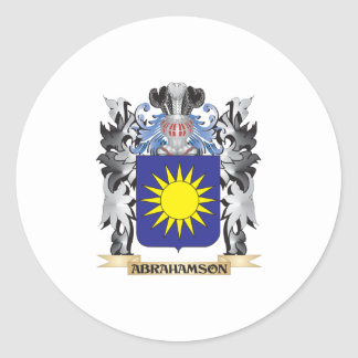Abrahamson Coat of Arms - Family Crest Classic Round Sticker