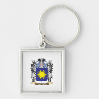 Abrahamson Coat of Arms - Family Crest Silver-Colored Square Keychain