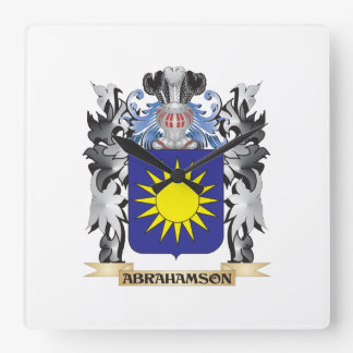 Abrahamson Coat of Arms - Family Crest Square Wall Clock