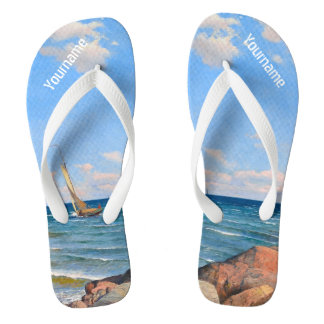 "Abrahamsson's ""Archipelago"" custom art sandals Flip Flops"