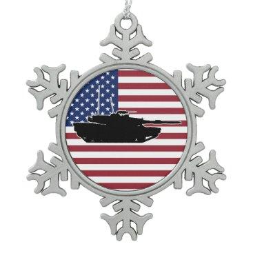 Abrams Tank Snowflake Pewter Christmas Ornament