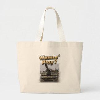 Abrams Tank - Wanna Play? Large Tote Bag