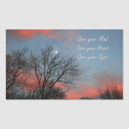Ábrase mente, corazón y los ojos/inspiración pegatina rectangular
