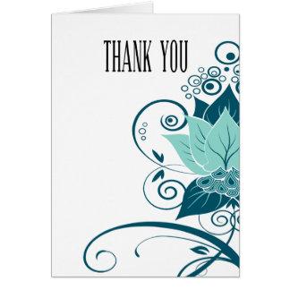 Abraxas Abstract Floral | aqua teal Thank You Card