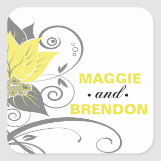 Abraxas Abstract Floral Favor   yellow charcoal Square Sticker