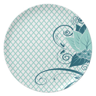 Abraxas Abstract Floral Fishnet | aqua Party Plates