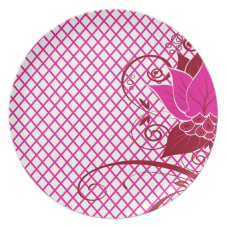 Abraxas Abstract Floral Fishnet fuschia Party Dinner Plate