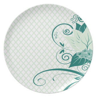 Abraxas Abstract Floral Fishnet | mint Party Party Plate