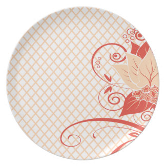 Abraxas Abstract Floral Fishnet | peach Party Plates
