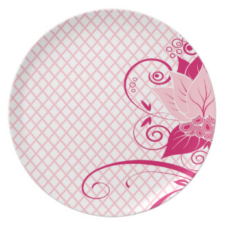 Abraxas Abstract Floral Fishnet | pink Party Dinner Plates