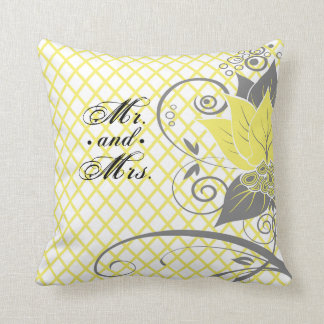 Abraxas Abstract Floral Fishnet yellow Mr. & Mrs. Throw Pillow