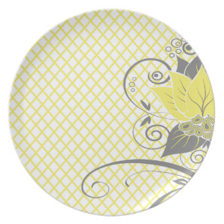 Abraxas Abstract Floral Fishnet | yellow Party Party Plate