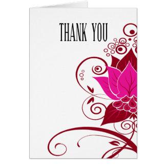 Abraxas Abstract Floral fuschia oxblood Thank You Card