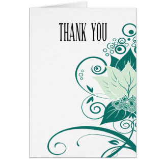Abraxas Abstract Floral mint emerald Thank You Card