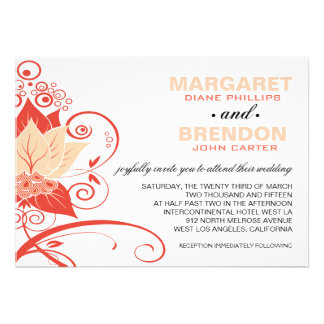 Abraxas Abstract Floral | peach coral Invitations