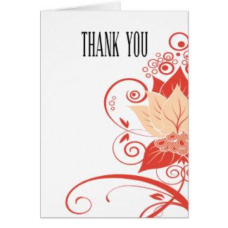 Abraxas Abstract Floral peach coral Thank You Card