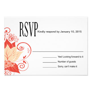 Abraxas Abstract Floral RSVP | peach coral Invitations