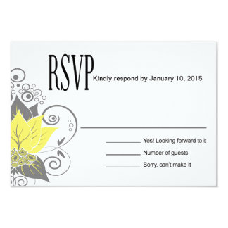 Abraxas Abstract Floral RSVP | yellow charcoal Card