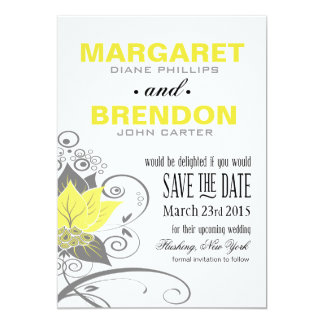 Abraxas Abstract Floral Save the Date | yellow Card
