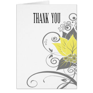 Abraxas Abstract Floral yellow charcoal Thank You Card