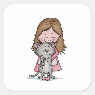 Abrazando mi gatito - diseñe para los amantes del calcomanías cuadradases