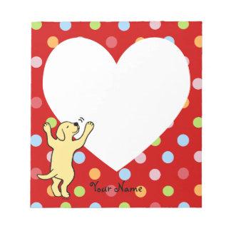 Abrazo amarillo personalizado del perrito de Labra Bloc