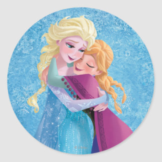 Abrazo de Ana y de Elsa Pegatina Redonda