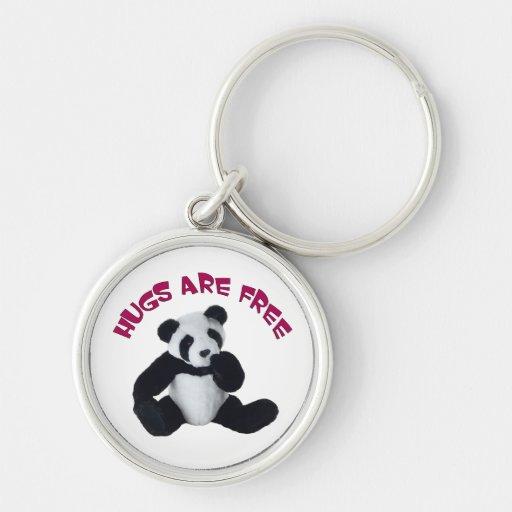Abrazo de la panda llavero redondo plateado