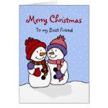 Abrazo de la tarjeta de Navidad de los muñecos de