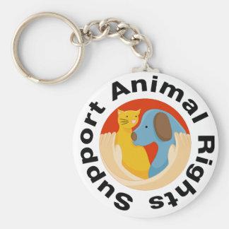Abrazo de llavero de los derechos de los animales