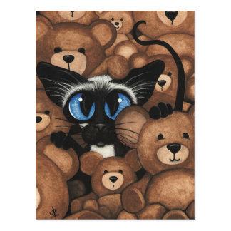 Abrazo de oso de peluche del gato siamés por tarjetas postales