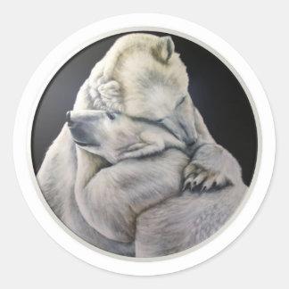 Abrazo de oso pegatina redonda