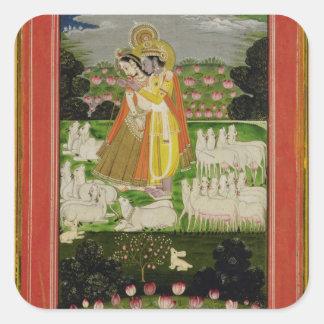 Abrazo de Radha y de Krishna en un landscap Pegatina Cuadradas